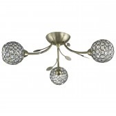 Bellis Ii - 3 Light Semi-Flush Ceiling Light, Antique Brass With Clear Glass Deco Shades