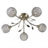 Bellis 2 Semi Flush 5 Light Ceiling Light - Antique Brass, Acrylic Beads