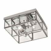Flush Bevelled Glass Box Ceiling Light - 2 Light, Chrome