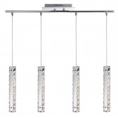 Clover - 4 Light Led Column Pendant Bar, Chrome, Clear Crystal Trim