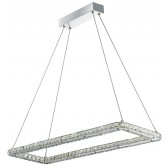 Clover Led Rectangle Frame Ceiling , Chrome, Clear Crystal Trim