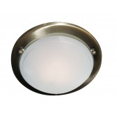 Jupiter Flush Ceiling Light - Ant Brass/Glass