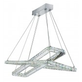 Clover - 2 X Led Rectangle Frame Ceiling , Chrome, Clear Crystal Trim
