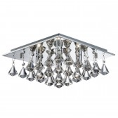 Hanna - 4 Light Square Flush Ceiling, Chrome, Clear Crystal Pyramid Drops