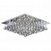 Hanna - 6 Light Square Flush Ceiling, Chrome, Clear Crystal Pyramid Drops