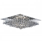 Hanna - 8 Light Square Flush Ceiling, Chrome, Clear Crystal Pyramid Drops