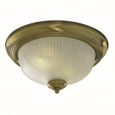 Flush Ceiling Light - Round Antique Brass