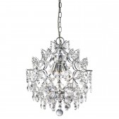 Harrietta Crystal Glass Ceiling Light - 3 Light, Chrome
