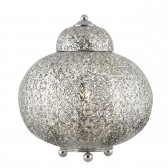 Moroccan Detailed Table Lamp - Shiny Nickel