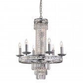 Chelsea 10 Light Crystal Pendant Chrome, Clear Crystal Square Trim & Drops