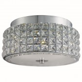 Rados Led Round Ceiling Flush, Clear Crystal Trim, White/Clear Glass Diffuser