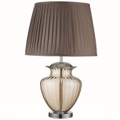 Table Lamp Large Glass Urn, Amber Glass, Chrome, Brown Pleated Shade