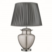 Table Lamp Large Glass Urn, Smokey Glass, Chrome, Pewter Pleated Shade