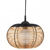 Dome Cage 1 Light Black & Copper Wire Frame Pendant