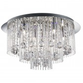 Beatrix Blue Led/8 Light Ceiling Flush, Chrome, Twist Tubes & Clear Crystal Ball Drops