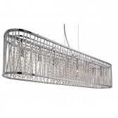Elise 8 Light Oval Ceiling, Aluminimum Tubes Trim, Chrome, Clear Crystal Drops