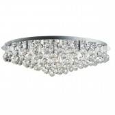 Hanna - Large 8 Light Round Chrome Ceiling Flush, Clear Crystal Balls Drops