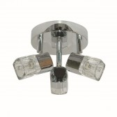 Blocs - 3 Light Spotlight Plate, Chrome, Ice Cube Glass Shades