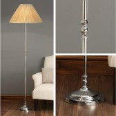Interiors1900 Fitzroy Nickel Table Lamp With Honey Silk