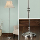 Interiors1900 Fitzroy Nickel Floor Lamp With Oyster Silk