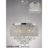 Diyas Adeline Pendant 6 Light Polished Chrome/Crystal