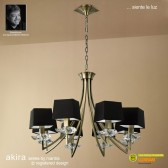 Akira Pendant 8 Light Antique Brass With Black Shade