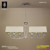 Akira Pendant 6 Light Polished Chrome With Cream Shade