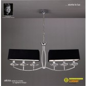Akira Pendant 6 Light Polished Chrome With Black Shade