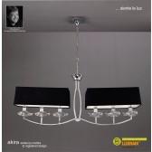 Akira Pendant 6 Light Polished Chrome With Black Shade