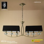 Akira Pendant 6 Light Antique Brass With Black Shade