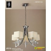 Akira Pendant 5 Light Polished Chrome With Cream Shade