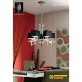 Akira Pendant 5 Light Polished Chrome With Black Shade