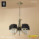 Akira Pendant 5 Light Antique Brass With Black Shade