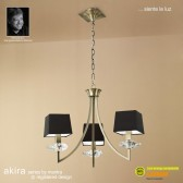 Akira Pendant 3 Light Antique Brass With Black Shade