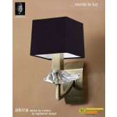 Akira Wall 1 Light Antique Brass With Black Shade