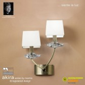 Akira Wall 2 Light Antique Brass With Cream Shade Switched