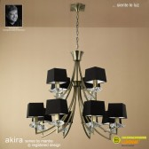Akira Pendant 12 Light Antique Brass With Black Shade