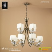 Akira Pendant 12 Light Antique Brass With Cream Shade