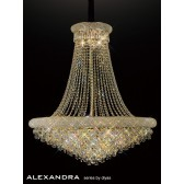 Diyas Alexandra Pendant 18 Light French Gold/Crystal