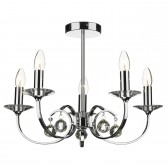 Allegra 5 Light Ceiling Light - Polished Chrome