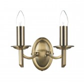 Dar Ambassador 2-Light Wall Light Antique Brass