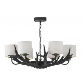 Antler 6 Light Pendant Black complete with Silk Shades(Specify Colour)