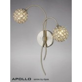 Diyas Apollo 2 Light Wall Bracket Satin Nickel/Crystal