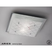 Diyas Aries Ceiling Square 2 Light Medium Chrome/Crystal