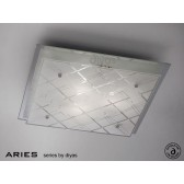 Diyas Aries Ceiling Square 3 Light Large Chrome/Crystal