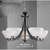 JH Miller - Dorchester Ceiling Light - 5 Light Black & Chrome
