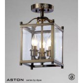 Diyas Aston Semi Flush 3 Light Antique Brass