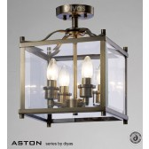 Diyas Aston Semi Flush 4 Light Antique Brass