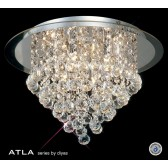 Diyas Atla Flush Ceiling 6 Light Round Polished Chrome/Crystal