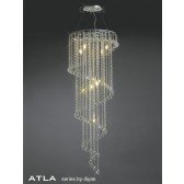 Diyas Atla Spiral Pendant 7 Light Polished Chrome/Crystal